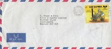 X3499 Banjul Feb 1988 air cover UK; Donald Duck Mickey Mouse stamp solo 1d rate