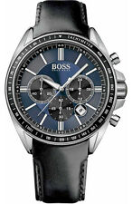 NEW HUGO BOSS 1513077 MENS LEATHER DRIVERS SPORTS WATCH - 2 YEAR WARRANTY