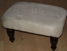 New Superb beige faux suede footstool with highest quaity dark wood turned legs
