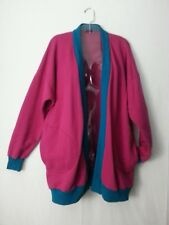 VTG 80s Fuchsia Pink Dolmen Sweat Jacket Cardigan OverSized Disco 1 Sz Fits Most