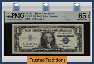 TT FR 1619 (RA BLOCK) 1957 $1 SILVER CERTIFICATE PMG 65 EPQ GEM UNCIRCULATED!