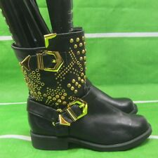 """new Black/Gold Stud Lace Up 1.5""""Low Block Heel Combat Ankle Sexy Boots Size 7"""