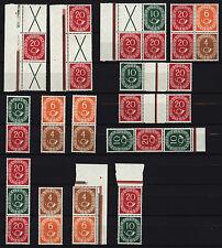 Germany 1951 Federal Posthorn Blocks zusammendr Together (X+20+X) (20+X+20)  MNH