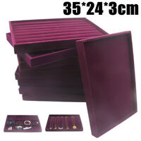 Velvet Jewellery Tray Ring Earring Display Holder Organizers Storage Showcase