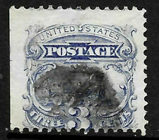 Sc #114 Grill Jumbo Margins Cancelled 3 Cent Locomotive 1869 Pictorial US 86B71