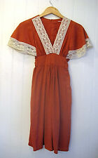 Vintage 1970's Rust Gauze and Lace Boho Hippie Mini Dress Flutter Sleeves XS