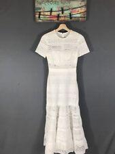 Authentic Self-Portrait Bea Eyelet Cotton Midi Dress White $510 Sz US0/UK4 NWT
