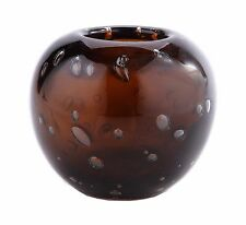 "New 6"" Hand Blown Art Glass Vase Bowl Amber Brown Bubble Design Decorative"