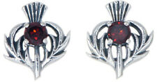 Sterling Silver Thistle Stud Earrings with a January Birthstone Centre