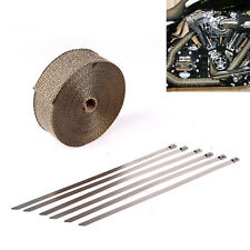 "2"" 50 Ft Fiberglass Thermal Exhaust Heat Header Wrap Tape Titanium +6 Ties Kit"