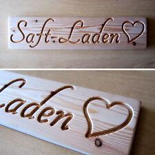 Saft-Laden - SAFTLADEN - Holz Dekoschild, massiv, natur, schönes Holzschild, NEU