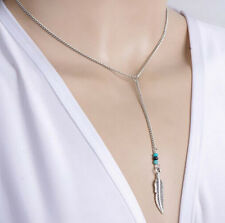 HORSE & WESTERN JEWELLERY JEWELRY TRENDY LARIAT STYLE FEATHER CHARM NECKLACE