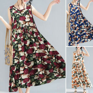 Oversize Femme Loose Sans Manche  Party Club Cocktail Imprimé floral Robe Dress