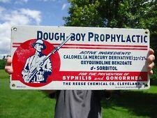 VINTAGE OLD LARGE 1950S DOUGH-BOY PROPHYLACTIC PORCELAIN ENAMEL ADVERTISING SIGN