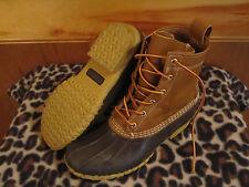 "Women LL BEAN Boots 8"" THINSULATE Snow Rain Mud Duck Tan/Brown Rubber/Leather 8M"