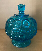VINTAGE FOOTED BLUE CANDY DISH BOWL w/LID & BUTTONS/SCALLOPED STARBURST