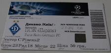 Ticket for collectors CL Dynamo KIev PSG Paris 2012 Ukraine France