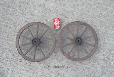 2x vecchio vintage in legno carrello trasporto ruote di carri Ruota - 55 cm