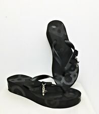 BCBGirls Flips Flop Black Bow 3 Silver Metal Charms Shoe Heart BG Size 9B/39
