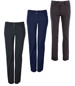 Womens Smart Stretch Trousers 2 Front Buttons Ideal for Work 29 31 Leg KK35/36
