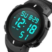 Cool Men's Waterproof Silicone LED Digital Date Sport Military Wrist Watches
