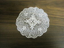 """VINTAGE EMBROIDERED ORGANZA LACE MEDALLION BRIDAL ~ 5"""" round  #1781"""