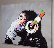 BANKSY DJ MONKEY GORILLA CHIMP CANVAS PICTURE WALL ART LARGE, 100s SOLD!!