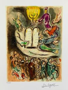 Marc Chagall MOSES AND THE TABLETS Limited Edition Facsimile Signed Giclee Art