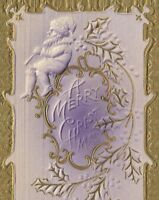 CE-205 A Merry Christmas, Purple Santa Divided Back Postcard Embossed Vintage