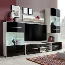 Parete Attrezzata Mobile TV con 2 Vetrine e illuminazione a LED Nero e Bianco