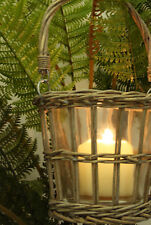 Shabby Chic Wicker & Glass Hanging Planter, Candle Holder Plant Pot Garden New