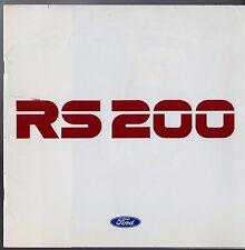 Ford RS 200 1987 mercado del Reino Unido Folleto de ventas Lujo Motorsport