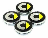 4x 60mm Für Smart Gelb Logo Auto Radmitte Kappen Nabendeckel Emblem Felgendeckel