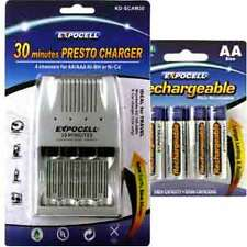 30 Minutes 4 Channel AA / AAA Fast Battery Charger with FREE 4 NiMH AA batteries