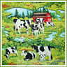 BonEful Fabric FQ Cotton Quilt Scenic FARM Market Red Barn Cow B&W Red Flower US
