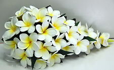 Silk wedding bouquet latex frangipani flower white yellow teardrop posy package