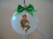 "VERY Unique USA Made Handmade Disney ""Peter Pan"" 3"" Round Glass Ornament, NEW!"