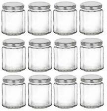 Nakpunar 12 pcs Beveled Glass Jars with Lids - Jam Honey Wedding Canning 6, 9 oz