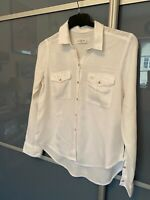 Abercrombie and Fitch A&F Shirt Top S Small Womens Ladies White Long Sleeve Soft