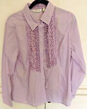 Orvis 100% Cotton Ladies Lavender Ruffled Shirt Long Sleeve Top SZ Med NWOT