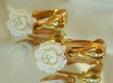 Soft White Celluloid Rose Vintage 50's Clip Dangle Earrings Feminine 24506