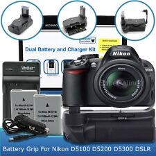 Battery Grip + 2 Battery + Charger for Nikon D5300 D5200 D5100 2300mAh