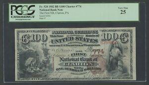 FR520 CH #774 $100 1882 BROWN BACK CLARION, PA PCGS 25 VF++ UNIQUE WLM7522
