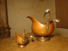 Old Copper & Bronze Decorative Art Pair Bowl With Lions & Porcelain Handles