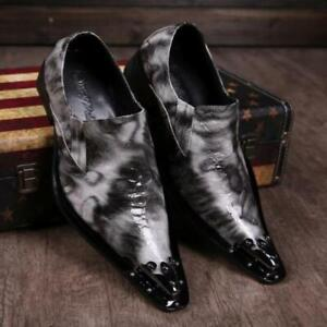 Gray Fashion Men's Metal Heads Pointy Toe  Dress Formal Patent Leather Shoes