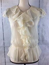 Ralph Lauren Women's Ivory Sheer Ruffled Neck Flutter Sleeves Button Front Sz 16