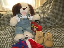 Build-A-Bear Playful Pup - long-haired pup with pyjamas, desert boots, suitcase