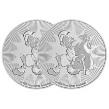 Lot of 2 - 2018 $2 Niue Silver Scrooge McDuck Disney .999 1 oz Brilliant Uncircu