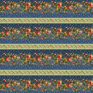 Navy Blue Border Stripe  Belle Epoque by Maywood BTY 9873-N  fabric