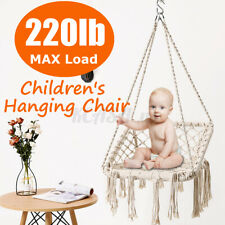 Swing Hammock Chair Rope Hanging Cotton Square Macrame Seat Patio Yard Outdoor